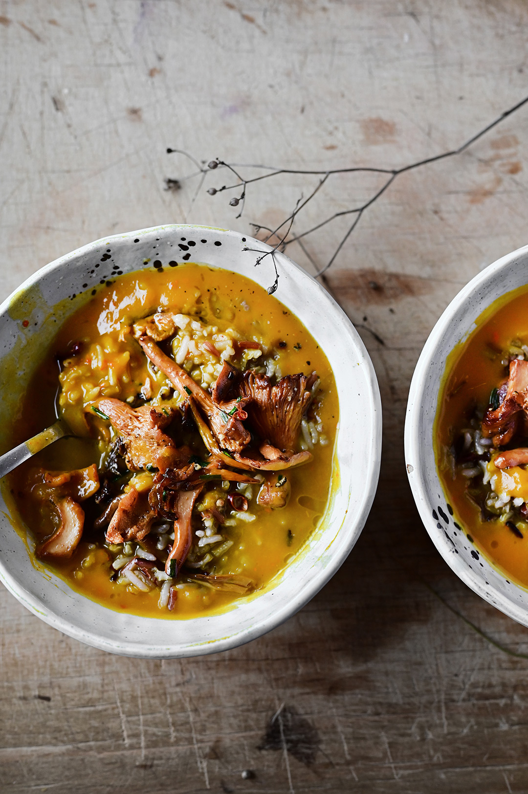 serving dumplings | Roasted pumpkin soup with wild rice and miso mushrooms