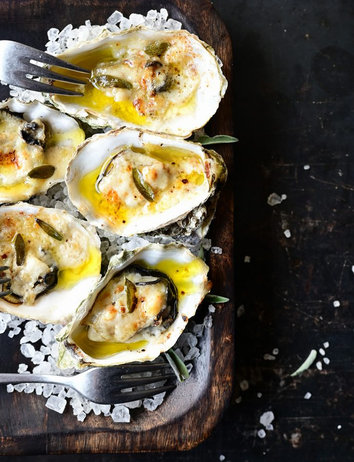 Roasted oysters with parmigiano, aïoli and sage butter