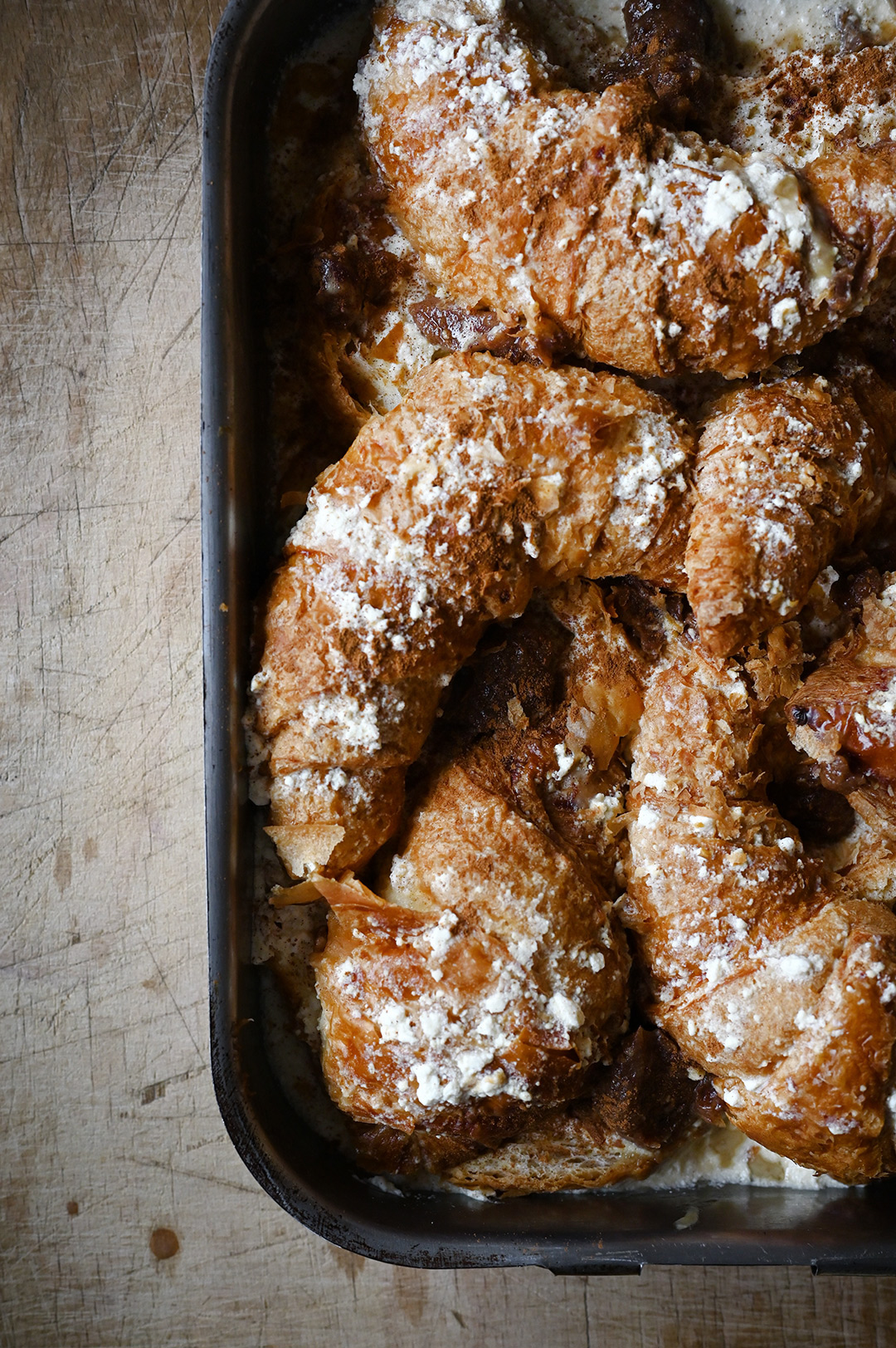 serving dumplings | Overnight pear and ricotta croissant French toast with almonds