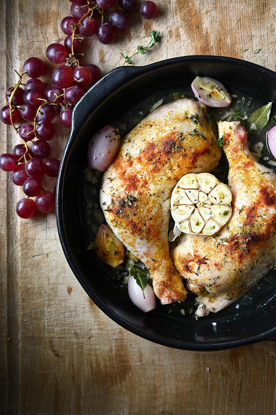 serving dumplings | Geroosterde kippenboutjes met knoflook en druiven