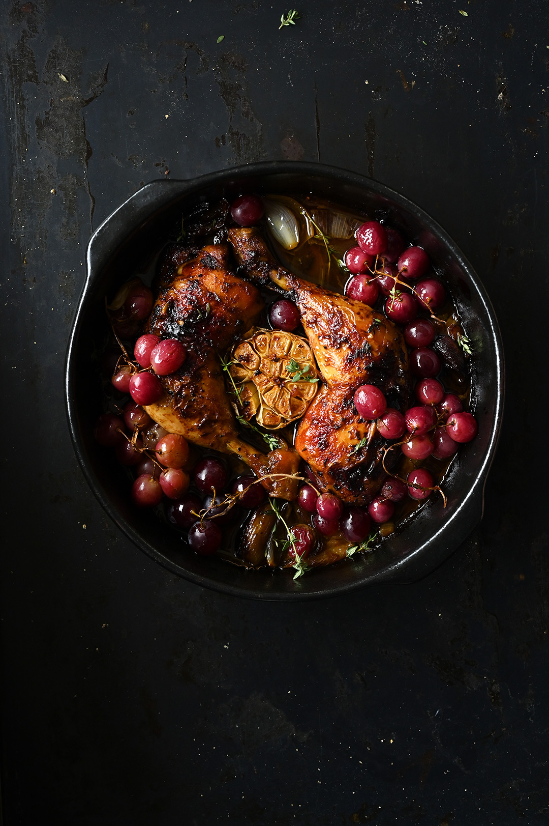 serving dumplings | Roast chicken legs with garlic and grapes