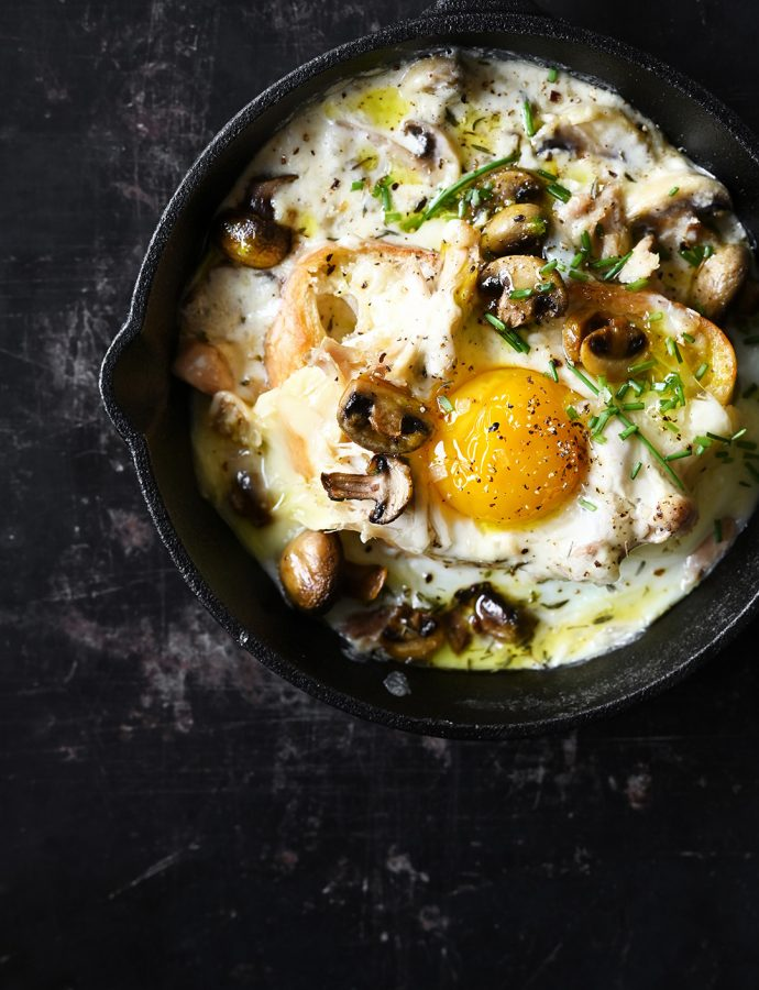 Creamy mushrooms with egg and shredded chicken on toast