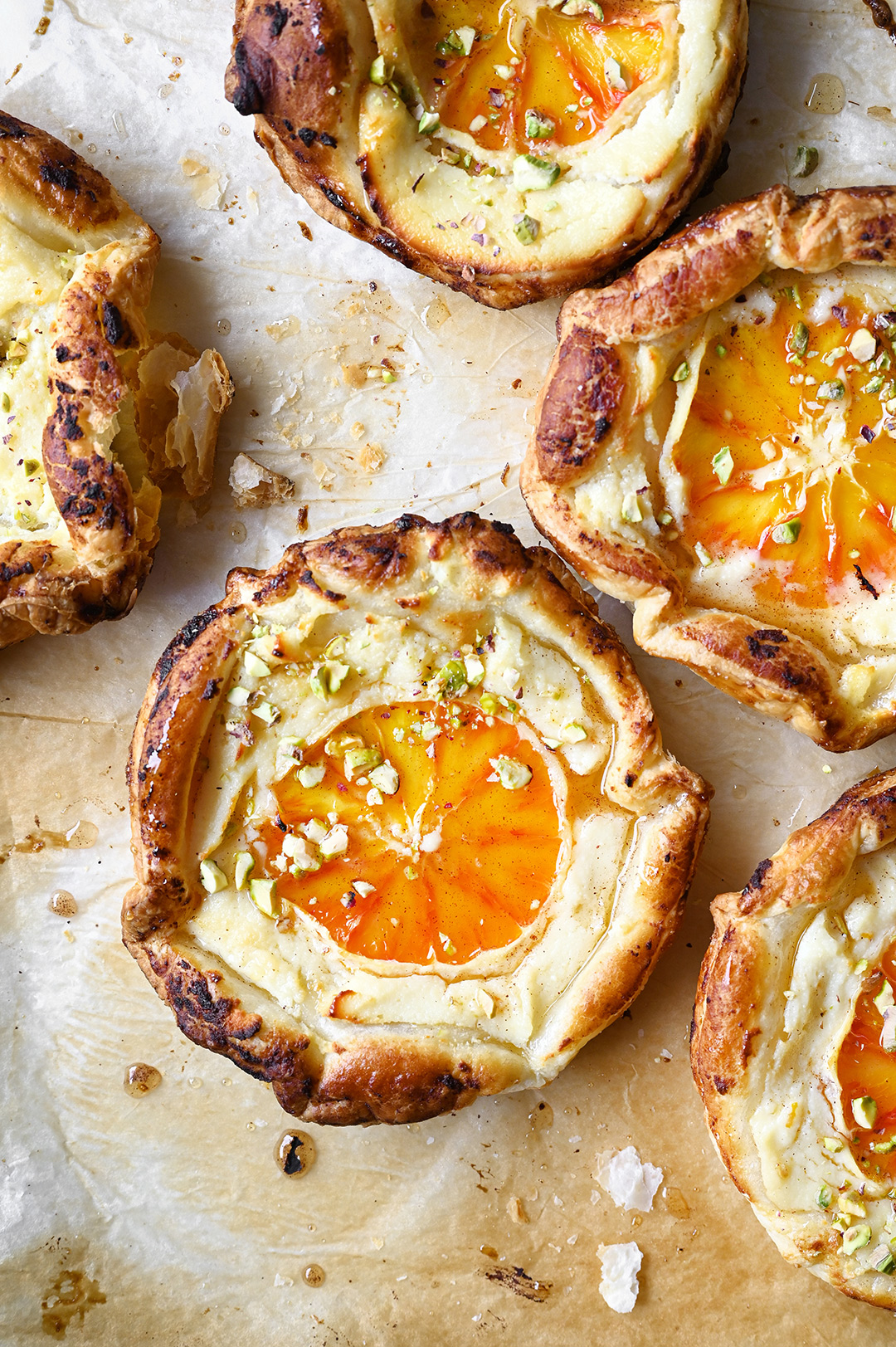 serving dumplings | Blood orange and ricotta puff pastry tarts