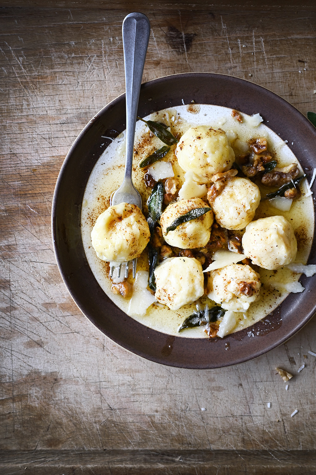 serving dumplings | Gnudi with browned butter and fried sage