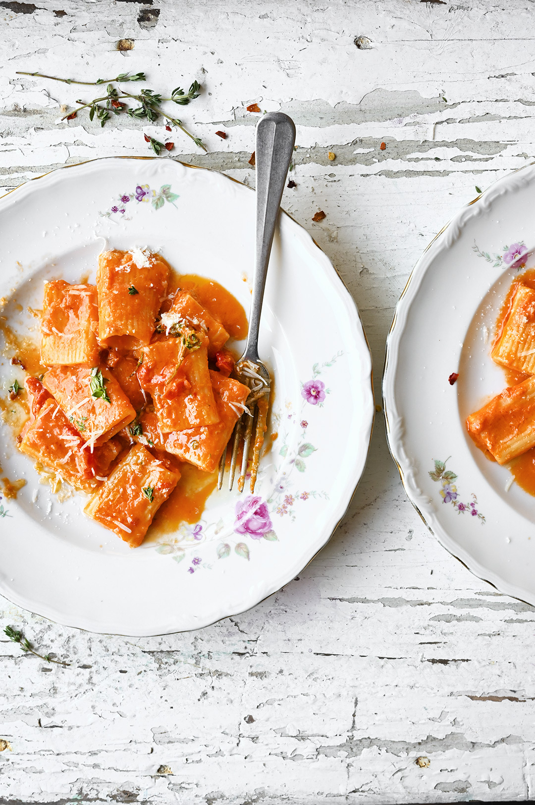 serving dumplings | Spicy rigatoni alla vodka with sun dried tomatoes