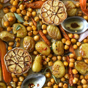 Easy roasted potato and crunchy chickpea salad
