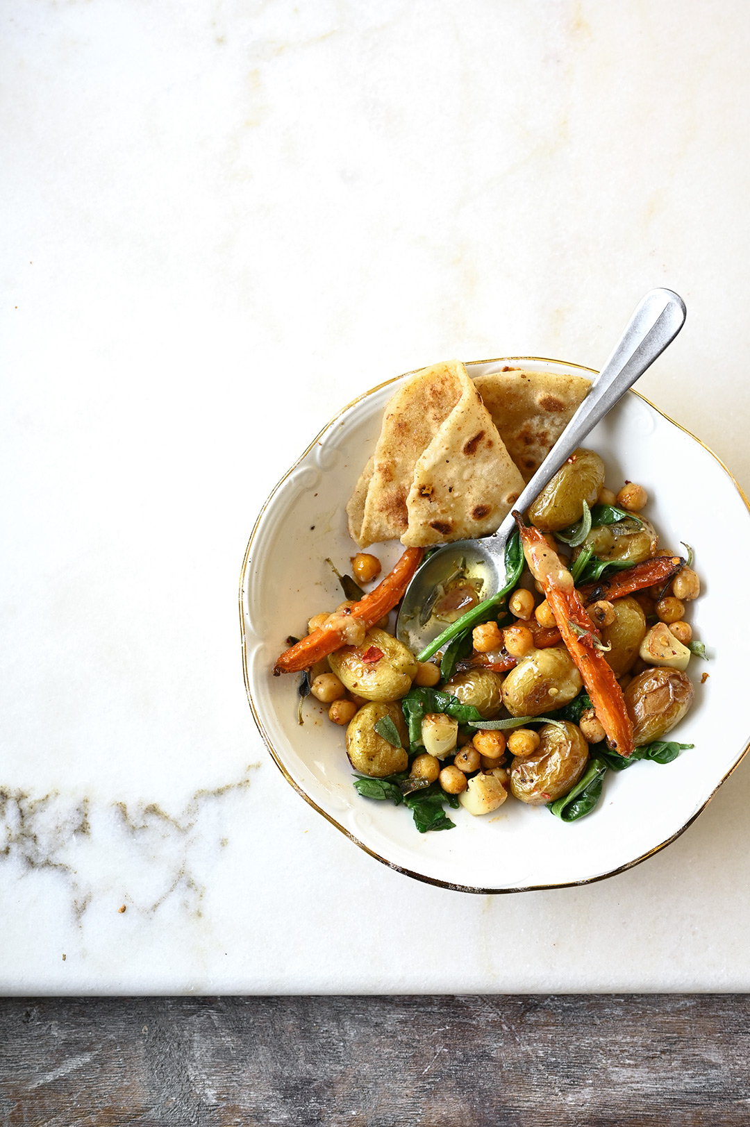 serving dumplings | Easy roasted potato and crunchy chickpea salad