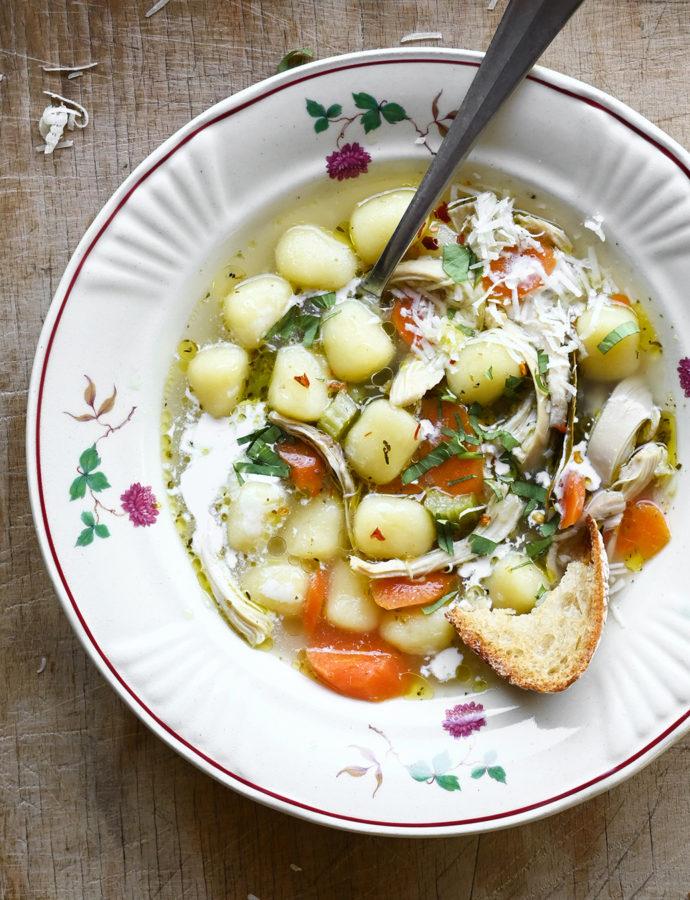 Kremowa zupa z kurczakiem i gnocchi