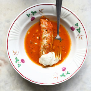 Lebanese cabbage rolls with lamb, feta and a garlic tahini sauce