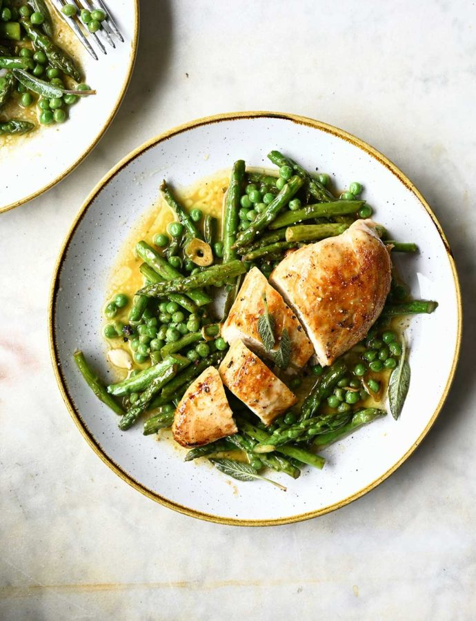 Chicken with browned butter baked asparagus