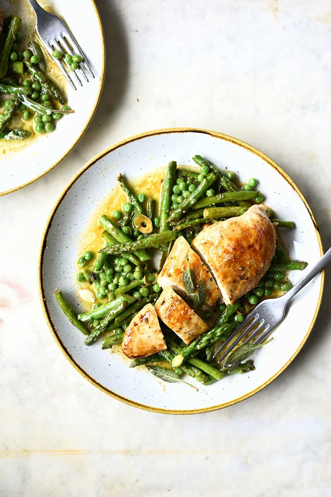 serving dumplings | Chicken with browned butter baked asparagus