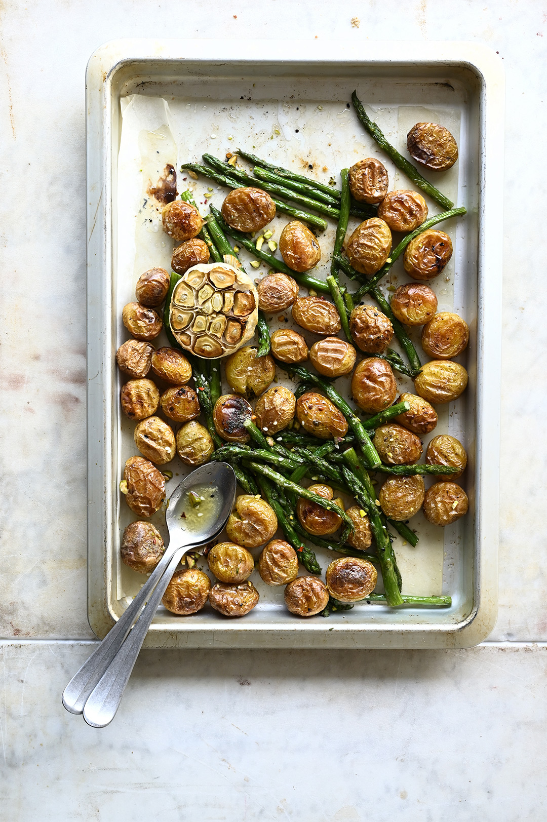 serving dumplings | Za'atar roasted potato and asparagus salad