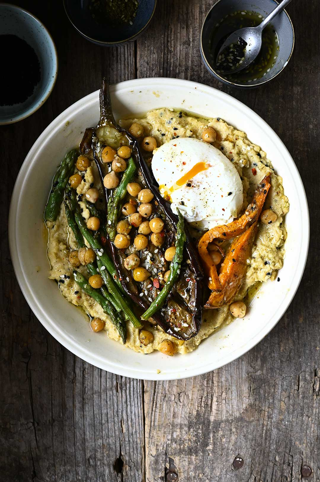 serving dumplings | Hummus bowl with roasted vegetables & za'atar oil