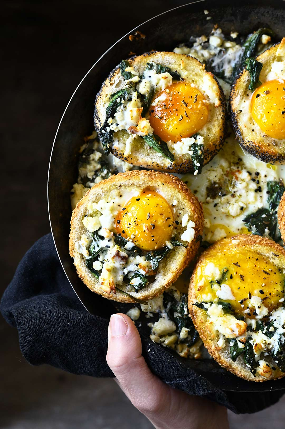 serving dumplings |Baked za'atar egg buns with spinach and feta