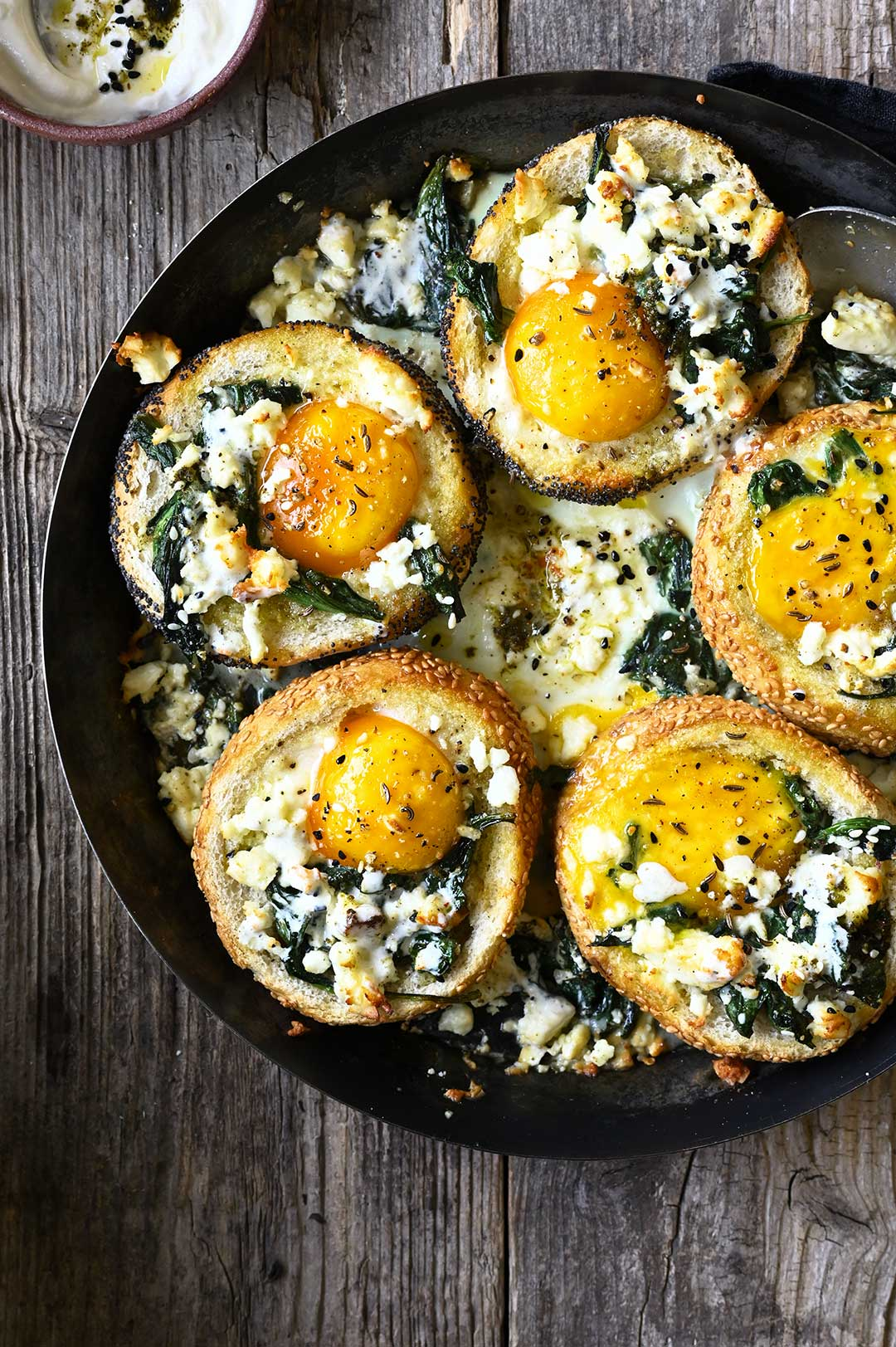 serving dumplings | Baked za'atar egg buns with spinach and feta