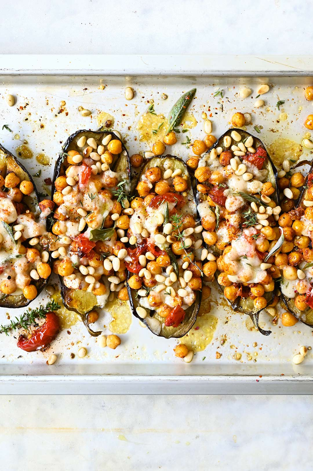 serving dumplings | Roasted aubergines with smokey chickpeas and parmesan