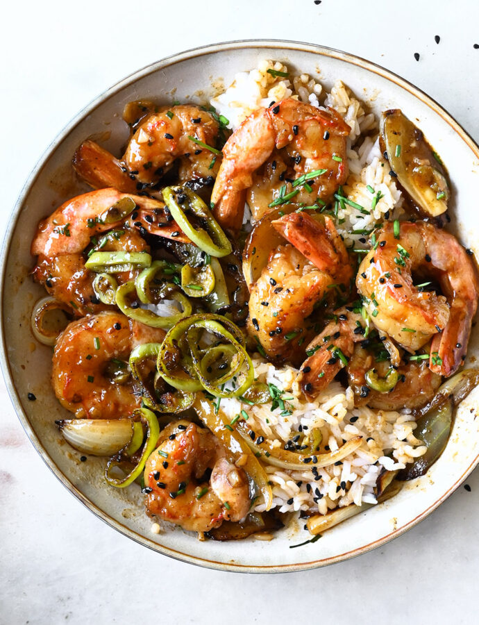Sichuan shrimp stir fry with onions