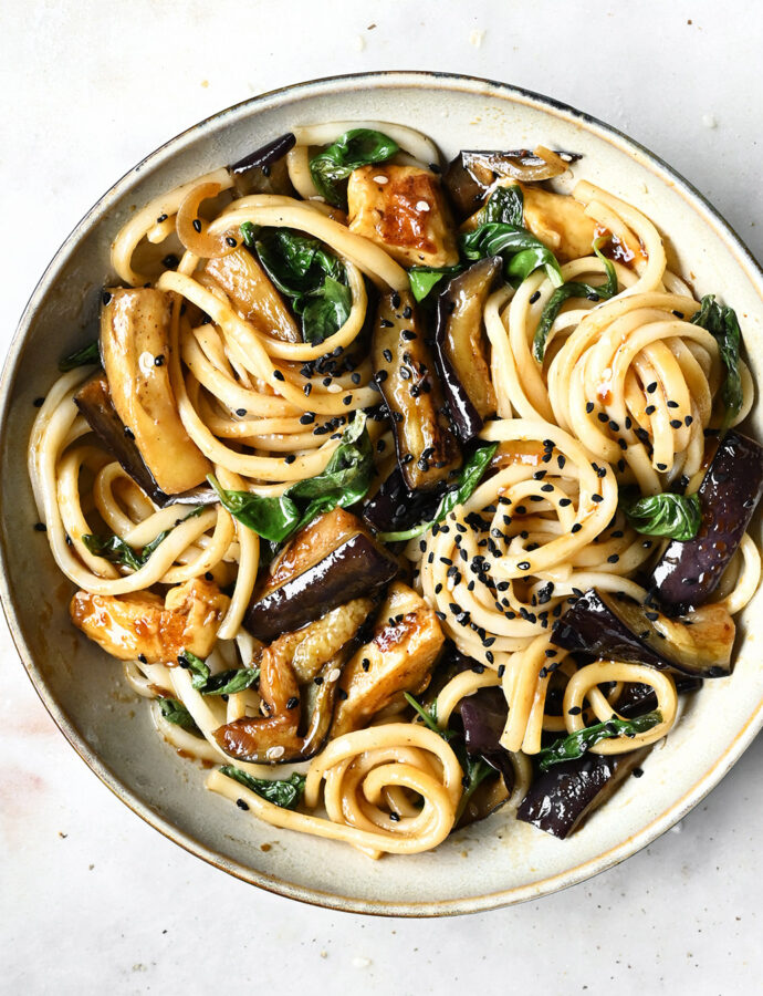 Eggplant and halloumi stir-fry