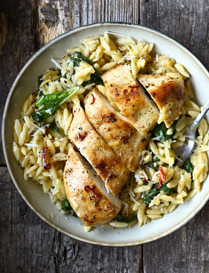 One Skillet Parmesan Chicken and Orzo