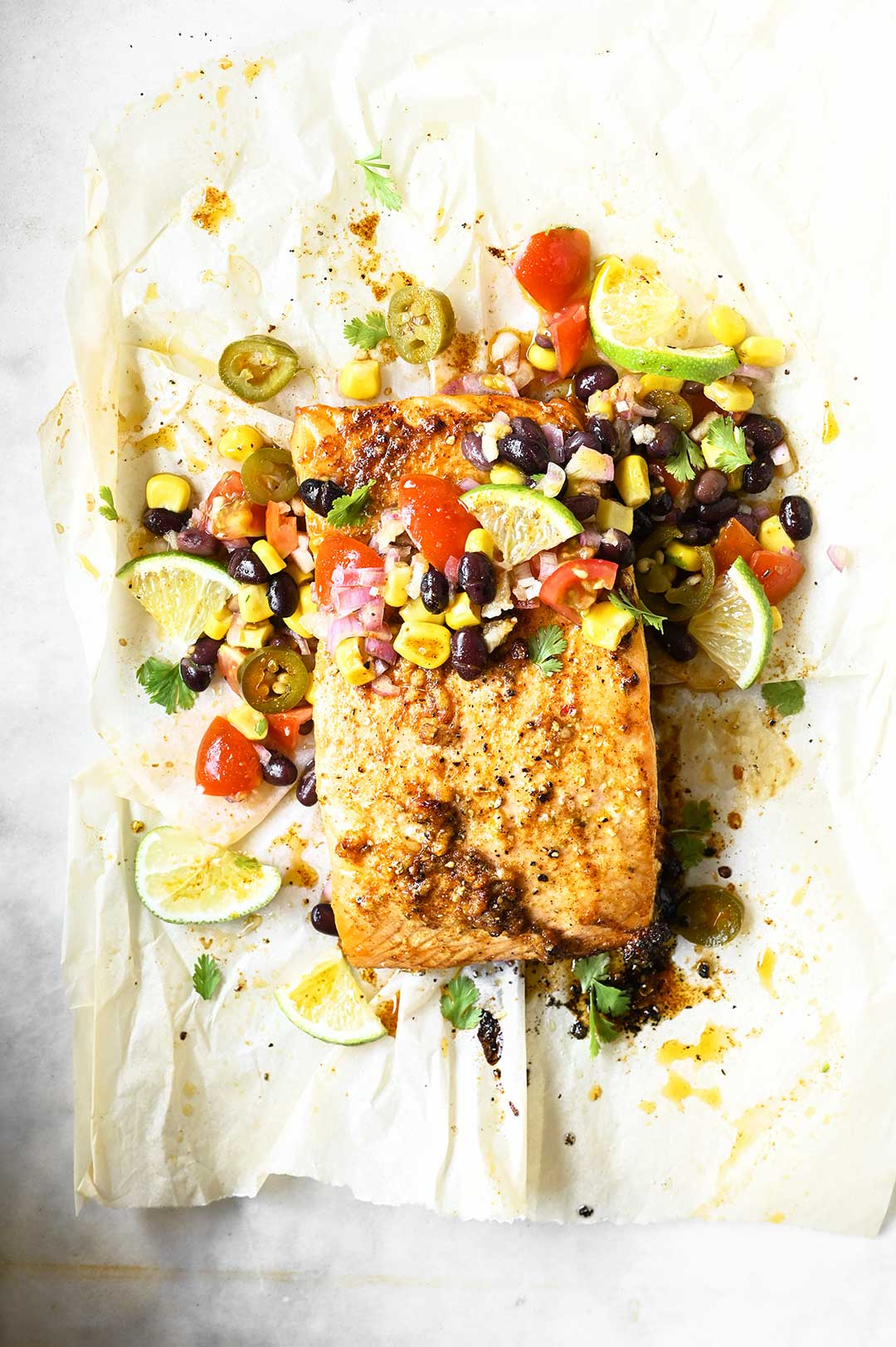 serving dumplings | Roasted salmon with black bean salsa