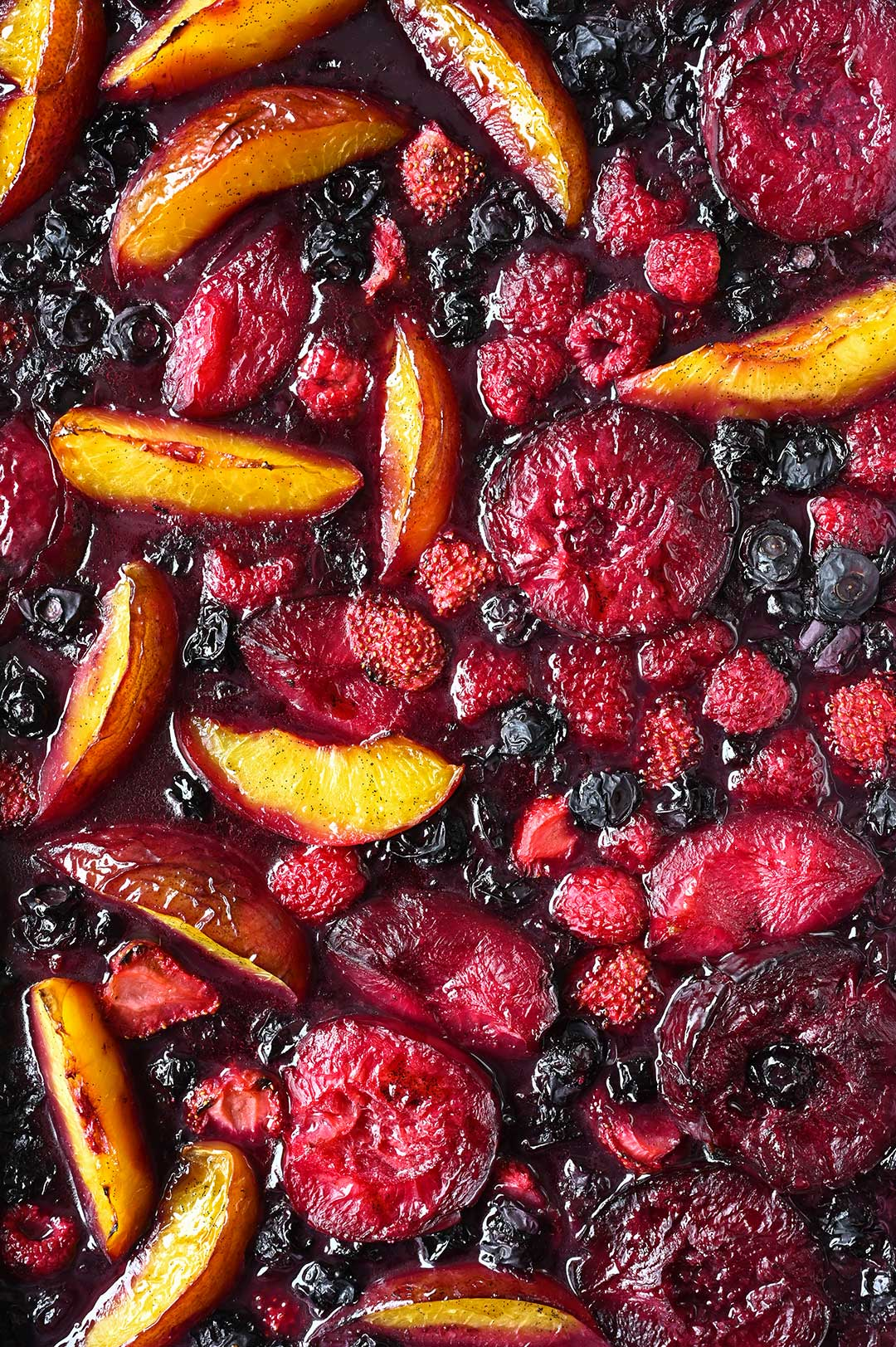 serving dumplings | Roasted summer fruit with rum and brown sugar