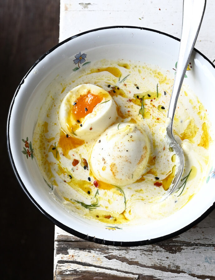 Turkish style eggs with whipped ricotta and browned butter