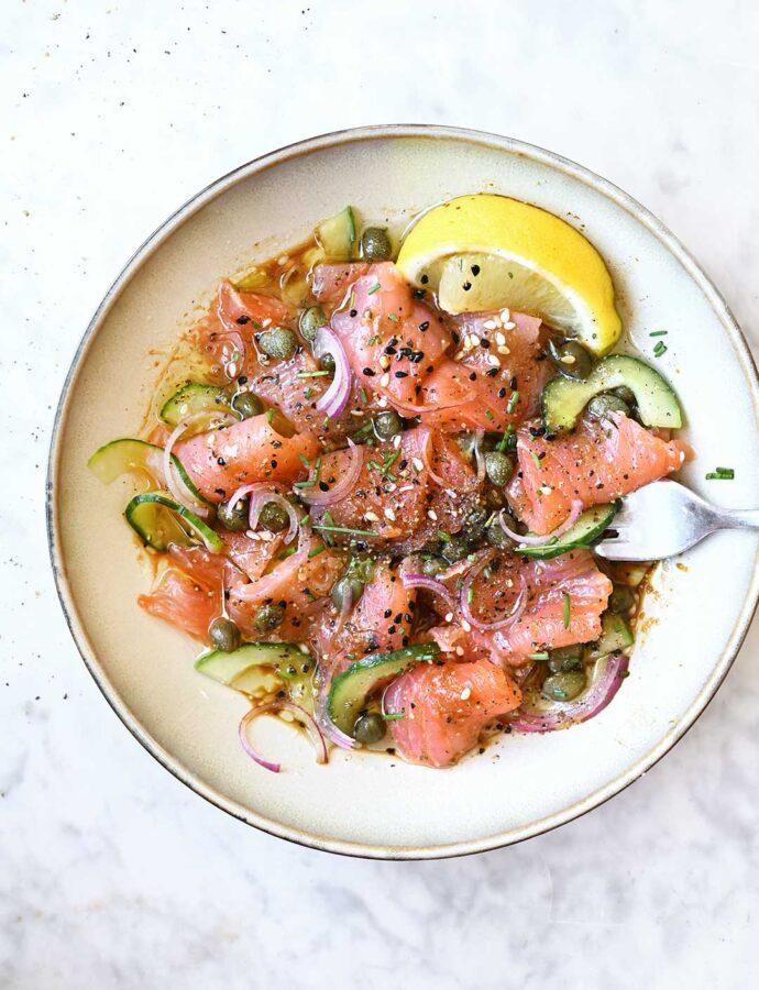 Sashimi z łososia z sosem miso