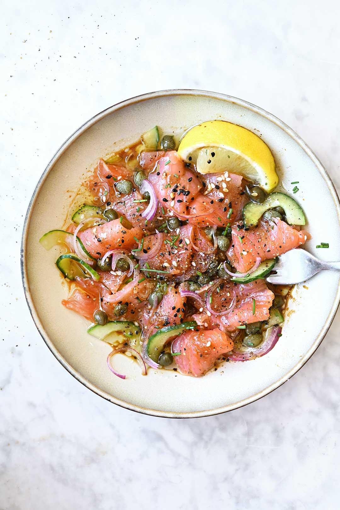 serving dumplings | Miso Soy Salmon Sashimi Bowl