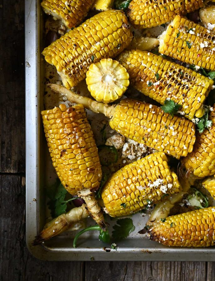 Garlic Butter Roasted Corn with Feta and Chilies