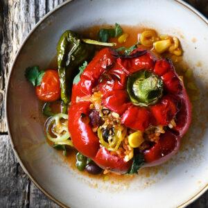 Gevulde paprika's met gehakt en chorizo