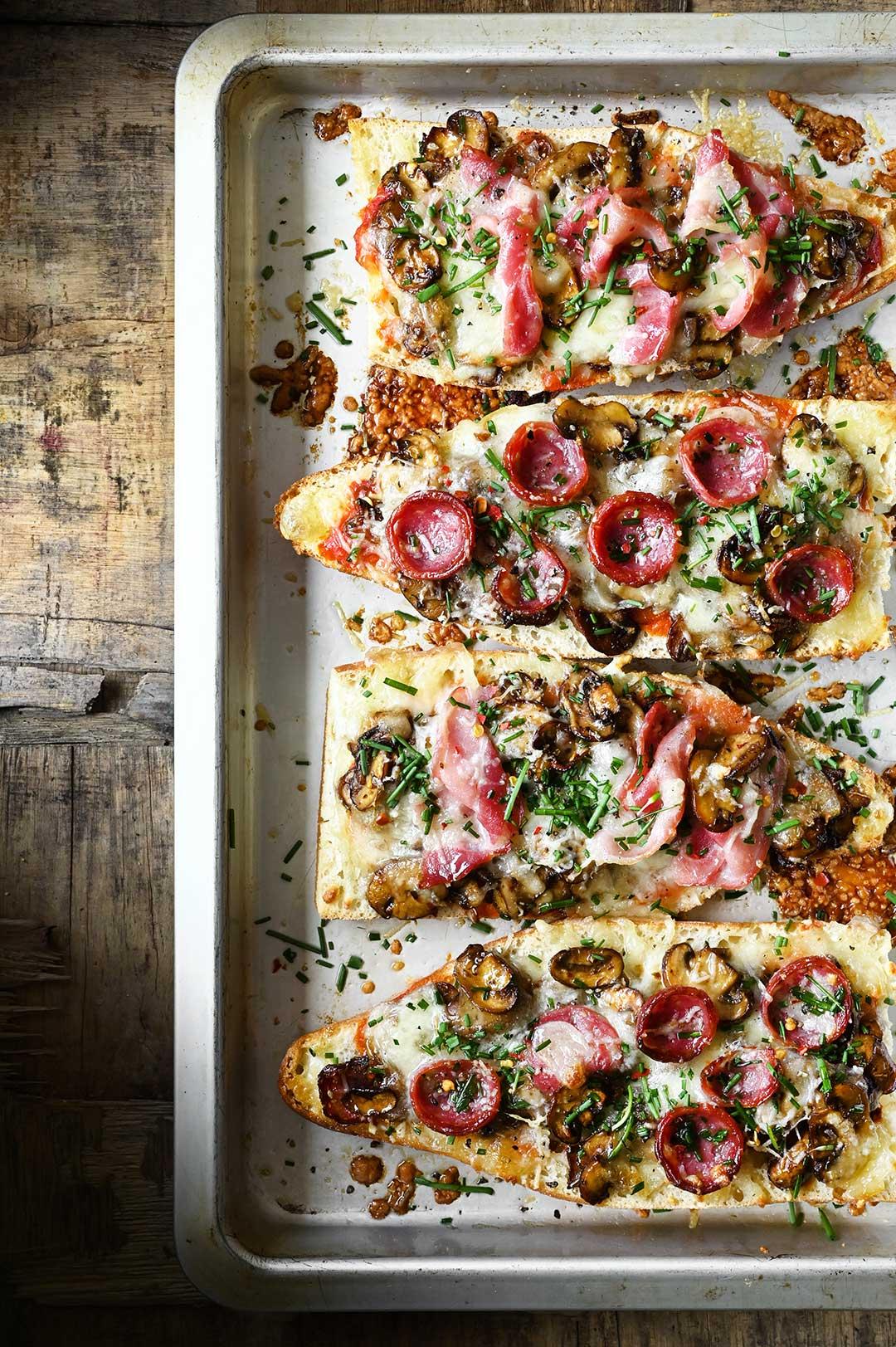serving dumplings | French Bread Balsamic Mushroom Pizza