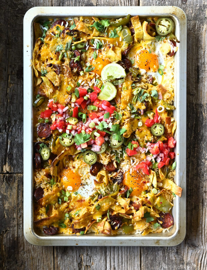 Mexican Rice Bake with Chorizo and Eggs