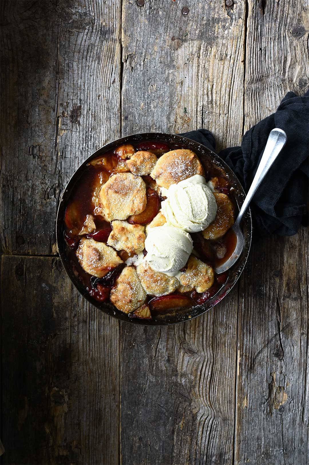 serving dumplings | Brown sugar plum cobbler