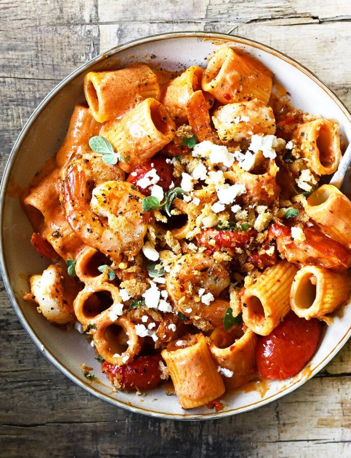 Spicy Shrimp Pasta in Tomato Cream Sauce