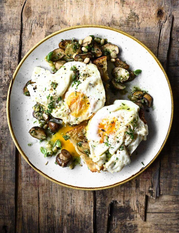 Pesto Mushrooms and Egg Toast