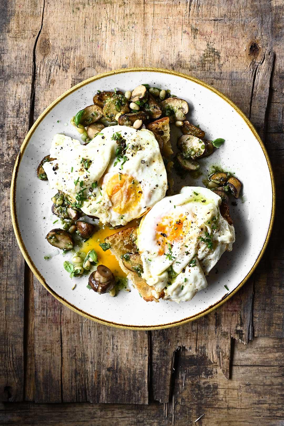 serving dumplings | Pesto Mushrooms and Egg Toast