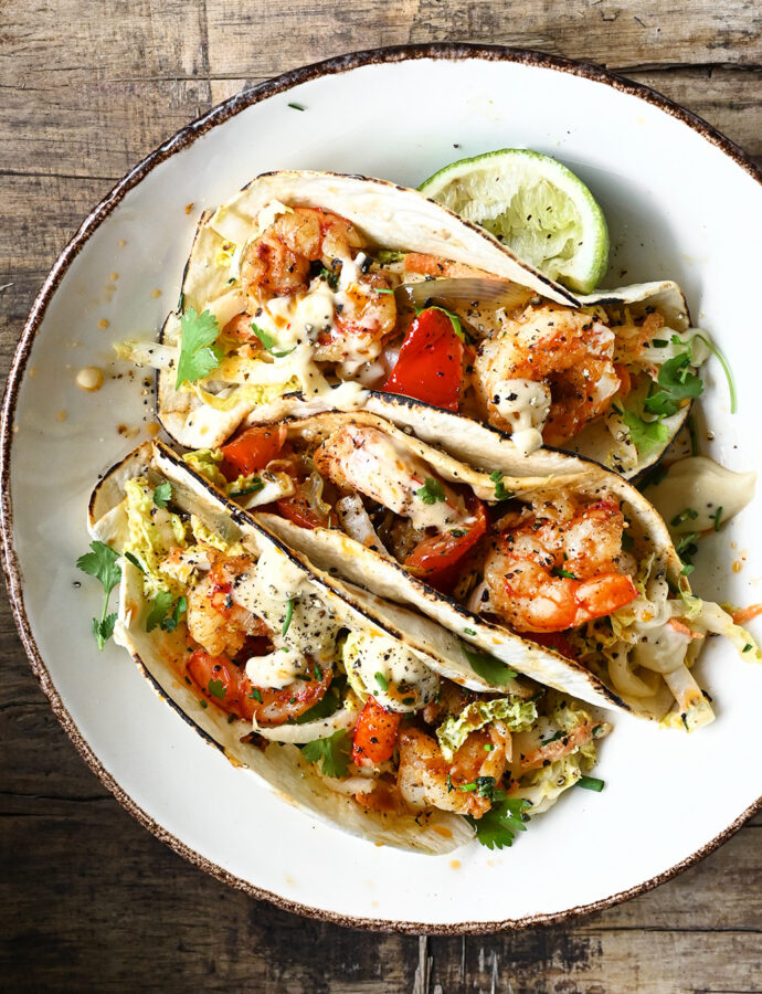 Spicy shrimp tacos with miso aioli slaw
