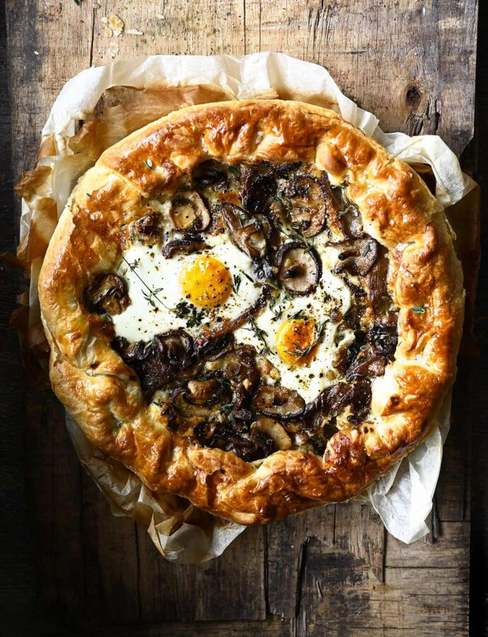 Cheesy Mushroom Tart with Eggs