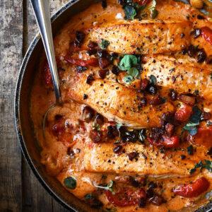 One-Pan Creamy Tomato Salmon with Chorizo