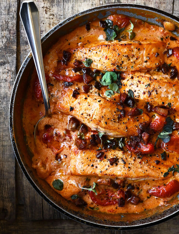 One-Pan Creamy Tomato Salmon with Chorizo