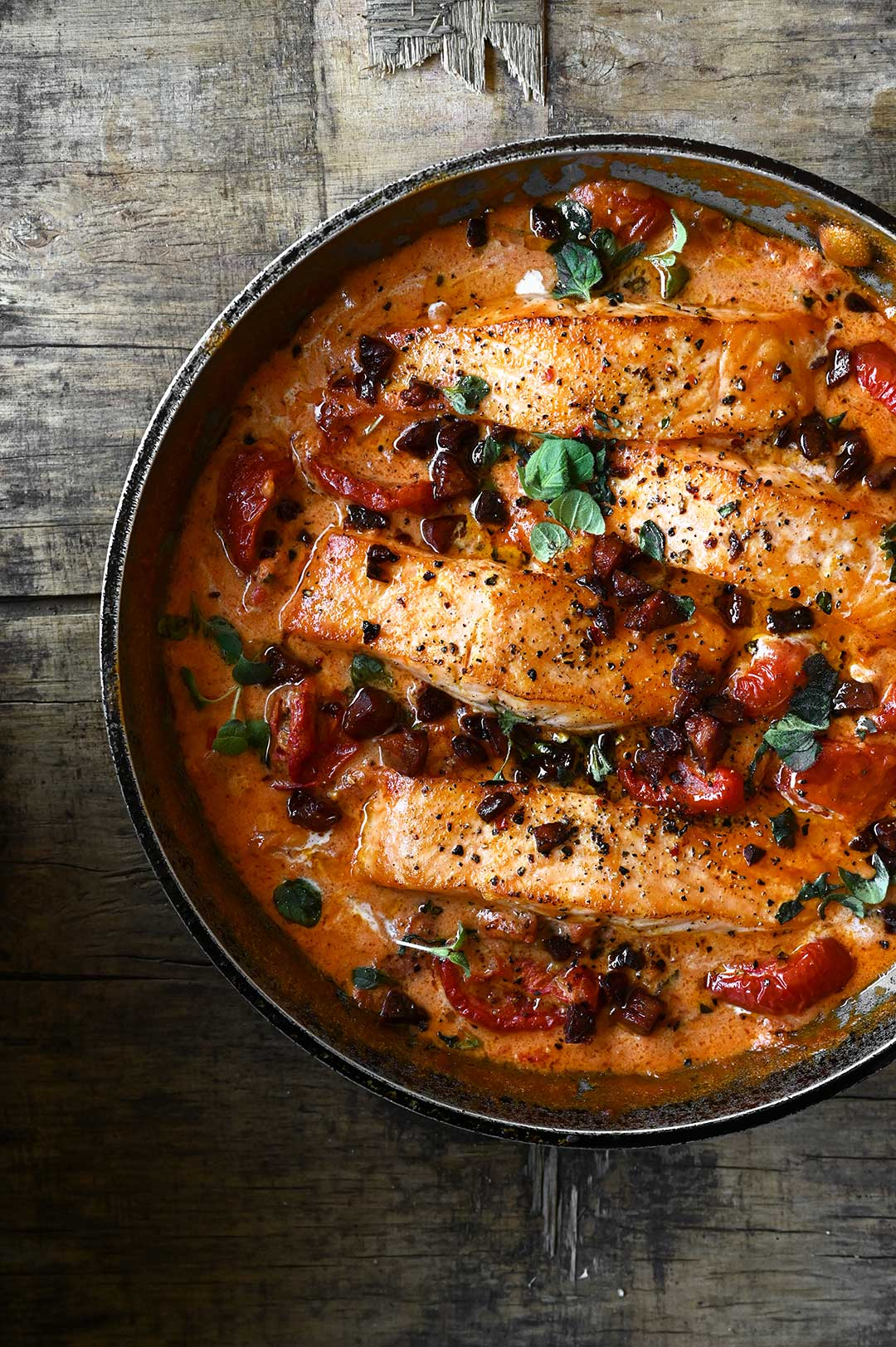 serving dumplings | One-Pan Creamy Tomato Salmon with Chorizo