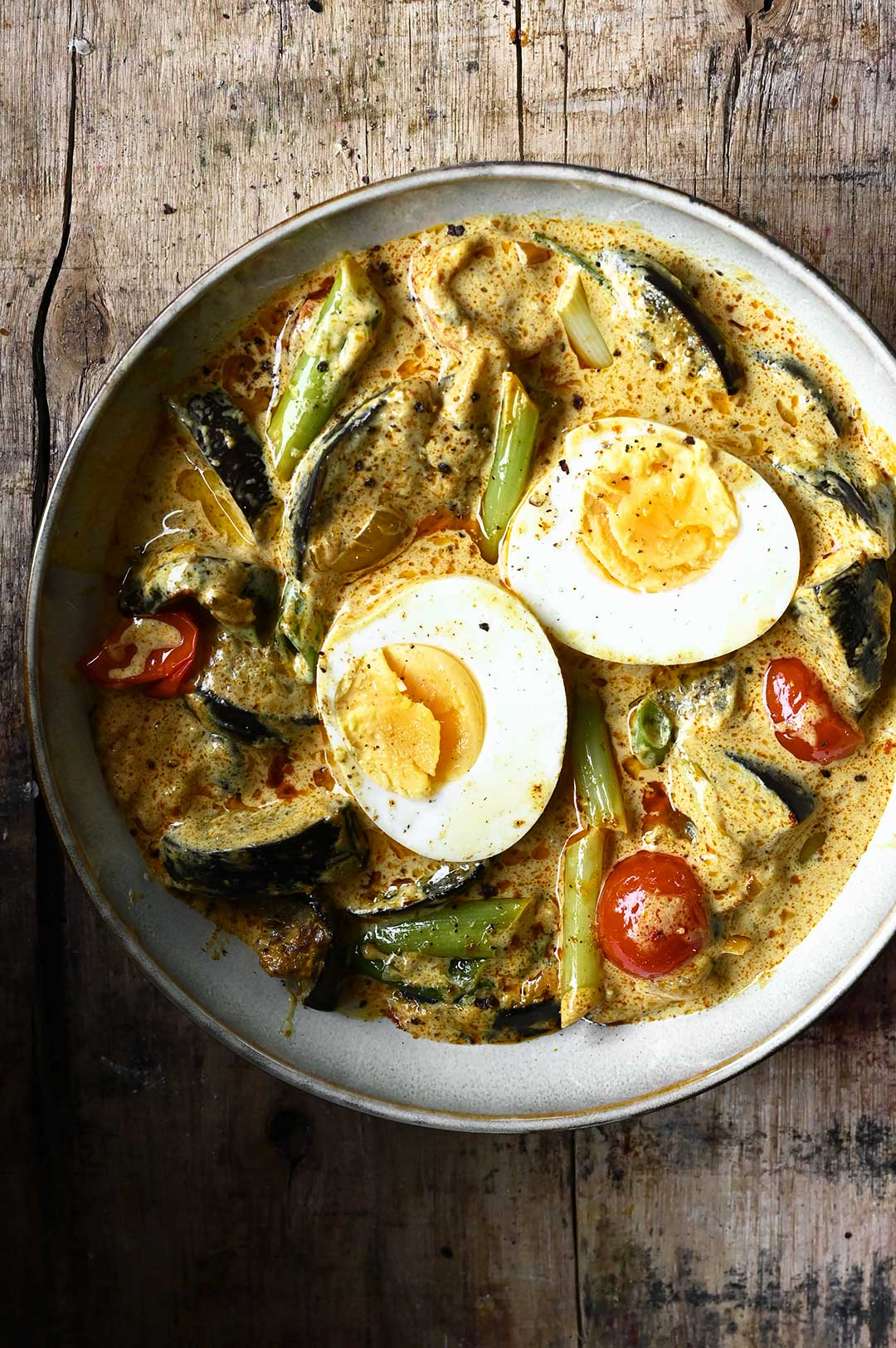 serving dumplings | Coconut Egg Curry with Eggplant
