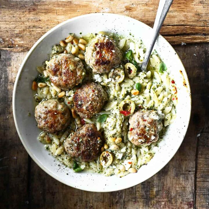 One Skillet Meatballs with Orzo and Feta Pesto
