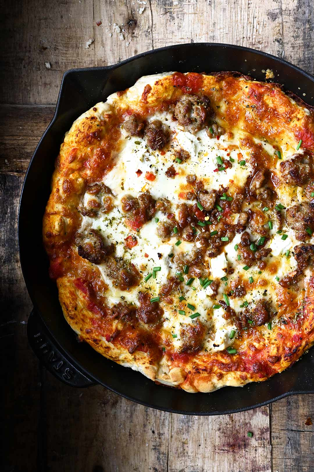serving dumplings | Easy Sausage Cast Iron Skillet Pizza