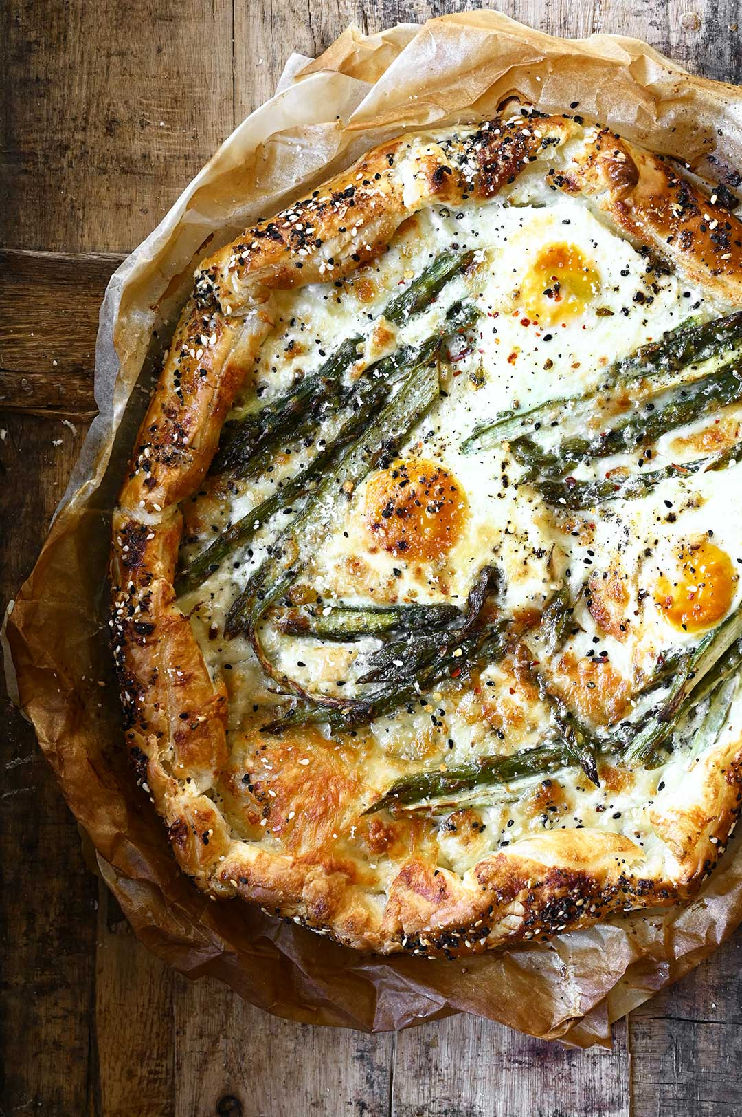 serving dumplings | Cheese and Asparagus Galette