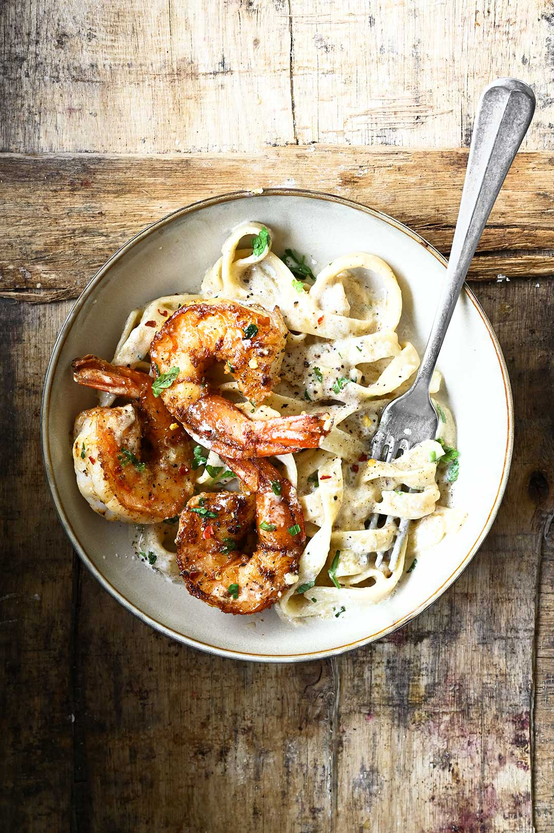 serving dumplings | Creamy Garlic Shrimp Pasta