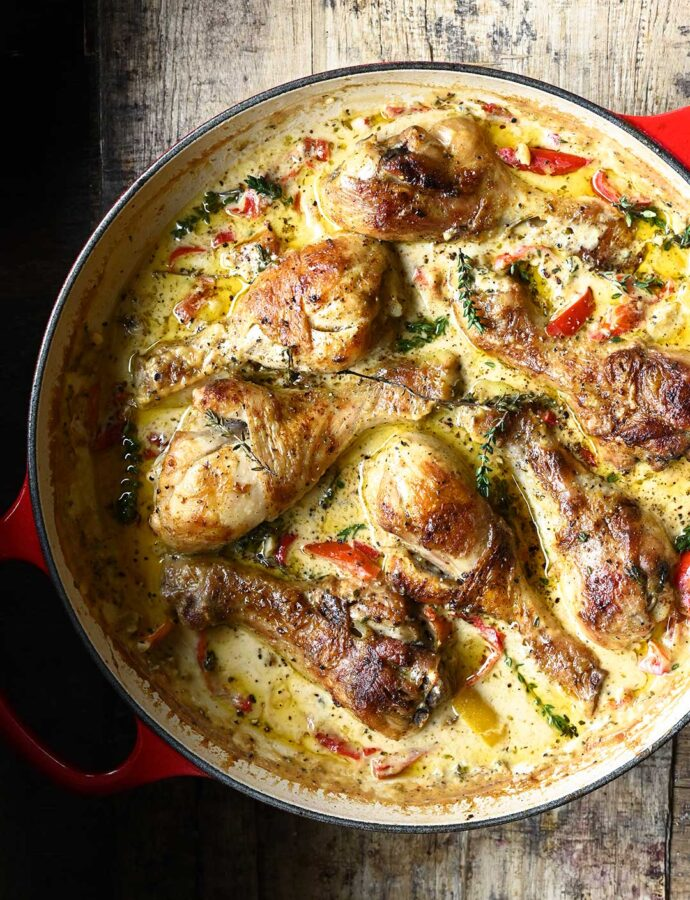 Udka z kurczaka w sosie śmietanowym z czarnym pieprzem