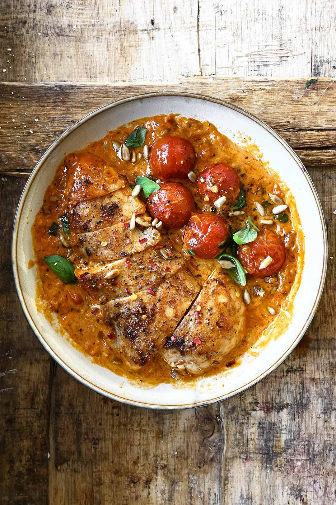 serving dumplings | Creamy Garlic Red Pesto Chicken