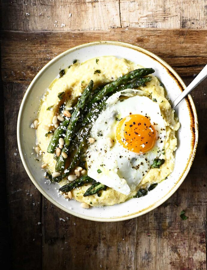 Parmesan Polenta with Buttered Asparagus