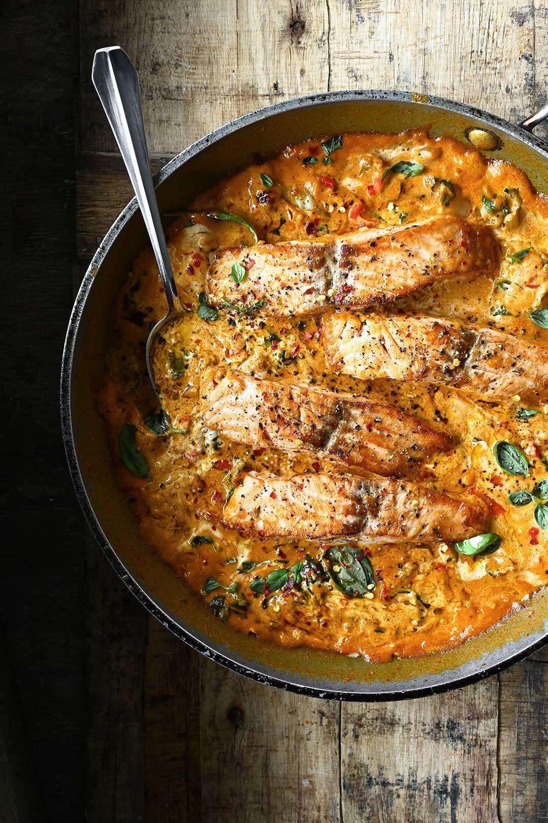 serving dumplings | Thai Coconut Curry Salmon